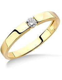 Miore Damen-Ring 375 Gelbgold Diamant (0.1 ct) weiß Rundschliff Gr. 54 (17.2) - M9070R4