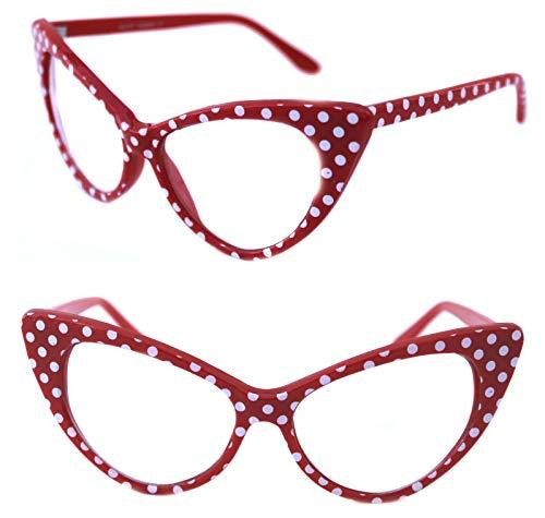Lolablossom Cat Eye Nerd Brille Polka Dots Oversize Rockabilly Brille Vintage Stil (rot)