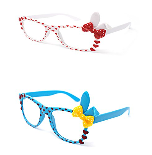 Ultra ® 1 Blau 1 weiß Paare von niedlichen 3D Multi Color Klarglas Bunny Heart Bow Frames perfekt für Kostüme Parteien Gläser Geschenk