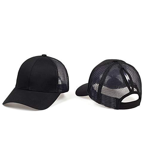 GMZXX Mode Männer und Frauen Baseballmütze Hohe Qualität Frauen Pferdeschwanz Caps Messy Buns Plain Baseball Cap Mode Sport HutSchwarz (Plain Sonne Hut)