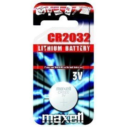 Maxell CR2032, pila de botón de litio 3 V, 1er blíster (5 x placa base batería)