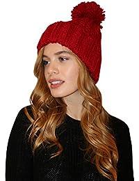 Bonnet beanie epais qualite pour femme hiver en tricot Pom Pom Beanie chapeau noir rouge beige bleu taille unique