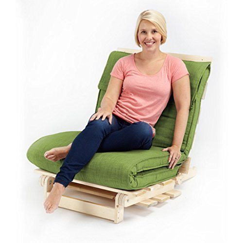 Lime Green Textured Fabric Single Complete Futon (Folding Mattress + Wood Frame)