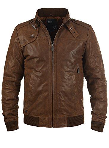 !Solid Dash Herren Lederjacke Bikerjacke Echtleder Mit Stehkragen, Größe:XL, Farbe:Cognac (5048)