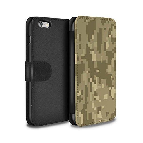 Stuff4® PU-Leder Hülle/Case/Tasche/Cover für Apple iPhone 6 / Brauner Cadpat Digital Muster/Militär Camouflage Tarnung Kollektion
