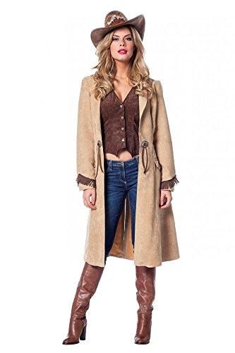 (Cowgirl Damen-Kostüm Mantel und Weste in Luxusausführung Western Wildleder-Optik, Größe:34)