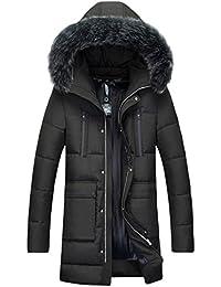 Lukis Herren Daunenjacke Pelzkragen mit Kapuze Lange Steppmantel Winter Coat