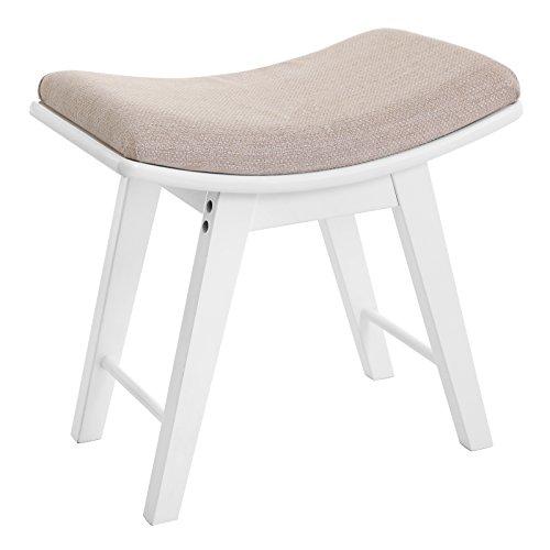 SONGMICS Songics URDS51W Frisierhocker, konkav, gepolsterte Sitzfläche, mit Gummibeinen, Weiß