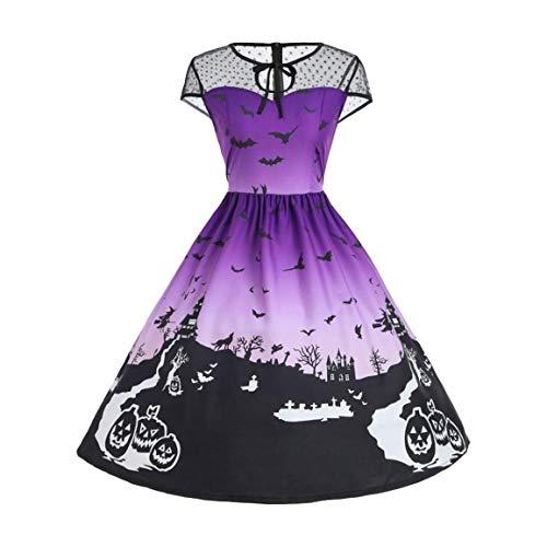 Moonuy Kurzarm Halloween Kleid für Frauen Mesh Patchwork Gedruckt Vintage Kleid Fit Fahion Kleid Club Beach Maxi Kleid