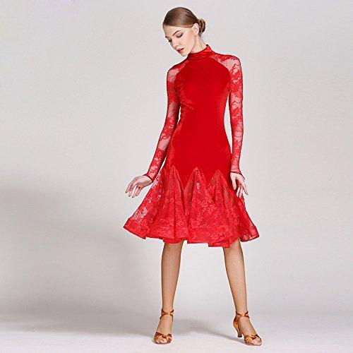 Xueyanwei Modern Frau Großen Pendel Velvet Modern Dance Dress Tango Und Walzer Tanz Kleid Tanzwettbewerb Rock Langarm Lace Dancing Kostüm,Red,L (Red Velvet Kleid Kostüm)
