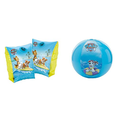 Paw Patrol Schwimmflügel / Schwimmhilfe & Wasserball / Strandball Chase, Rubble und Marshall