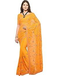 EthnicJunction Women's Designer Embroidered Chiffon Silk Saree With Blouse (Merigold Orange, EJ1168-7005)