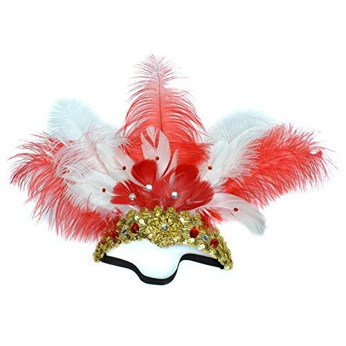 Flapper Red Kostüm Für Erwachsenen - Fliege MÄNNER Haarschmuck Handmade Custom Dance Kopfschmuck Maskerade Straußenfeder Kopfschmuck Führen Haarband (Color : 2white/3 red)