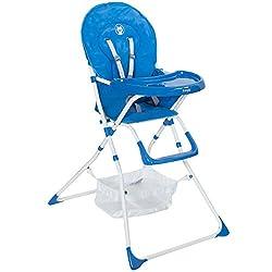 Froggy Baby Kinder Hochstuhl mit Sicherheitsgurt und Großem Esstisch, Zusammenklappbar, Blau