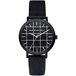 Christian Paul grl-01Herren Edelstahl schwarz Leder Band Schwarz Zifferblatt Armbanduhr