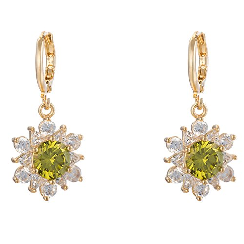 YAZILIND Frauen-elegantes Gold 18K überzog Blumen-Grün Zirkonia Kristallband Dangel Ohrringe