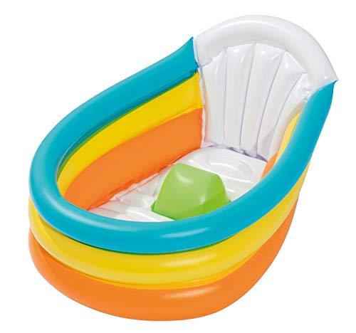 Bieco 22051134 Aufblasbare Babywanne für Dusche, Garten und Balkon, Badewanne für Babys und Kleinkinder, Badepool mit Thermometer als Spielzeug, mehrfarbig