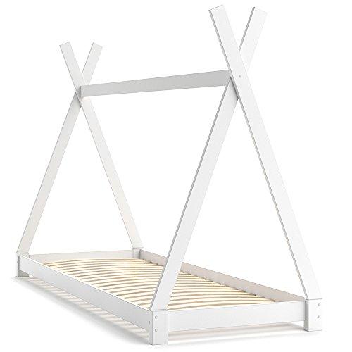 *VICCO Kinderbett TIPI Kinderhaus Indianer Zelt Bett Kinder Holz Haus Schlafen Spielbett Hausbett 90×200 (weiß)*