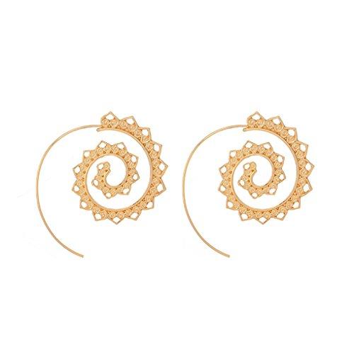 Bobury Orecchini a forma di orecchini a forma di donna Orecchini a forma di anello in oro giallo con perni pendenti
