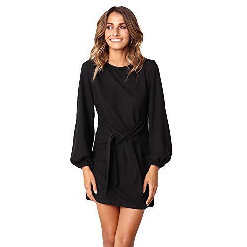 Avacoo Damen Kleider Knielang Kleid Langarm Fashion Kleid Casual Kleider Schwarz Medium