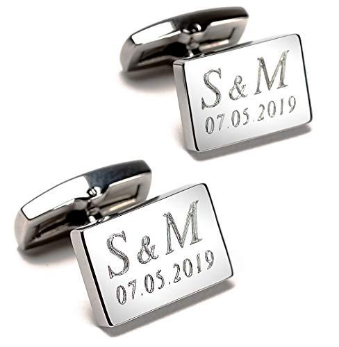 Manschettenknöpfe mit Text-Gravur | echte Diamantgravur | rechteckig, Silber glänzend | Initialen & Datum gravieren Lassen