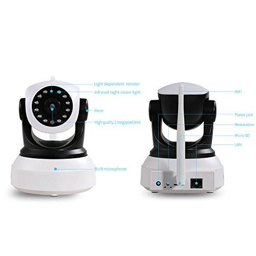 NEXGADGET IP Cámara HD WiFi de Vigilancia Seguridad Interior Detección Movimiento Visión Nocturna Visualización Remota Alarma Grabación de Vídeo P2P Pan Tilt Compatible con iOS y Android ( Único Autorizado Vendedor-NexTech )