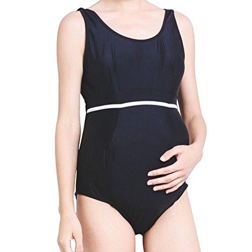 Hzjundasi Neue Frauen Mutterschaft Schwangerschaft Einteilige Plus Size Kostüm Bademode Badeanzug Swimdress Bottom Briefs Schwarz