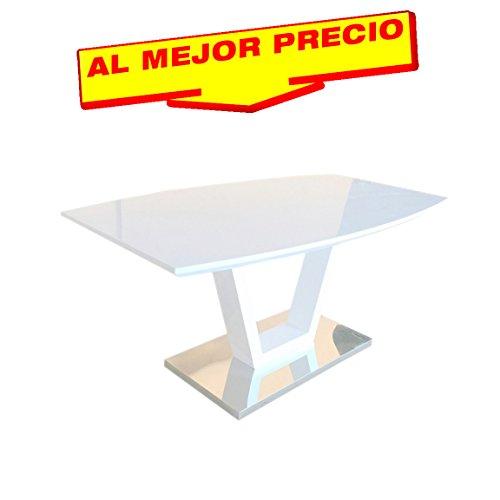 MESA DE COMEDOR DISEÑO MINIMALISTA MODELO BORNEO, TAPA LACADA BLANCA 160X90 CM - OFERTAS HOGAR -¡AL MEJOR