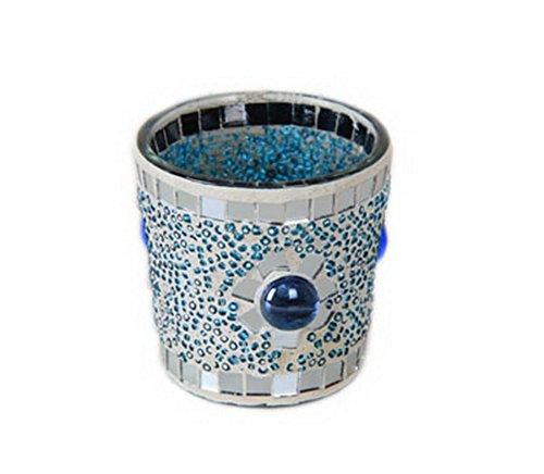 Mode Bleu mosaïque en verre pour bougie chauffe-plat support