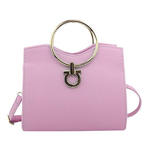 DUYANGANG Femmes PU Achats Sac à Main Sac Messenger épaule,Light-Pink-OneSize