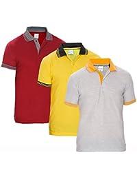 Baremoda Men's Polo T Shirt Grey Yellow Maroon Combo Pack Of 3