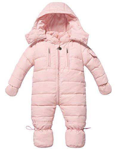 ZOEREA Baby Mädchen Daunenanzug Daunenmantel Strampler Winter Kleidung Pink Schwarz Rot für 0-12 Monate