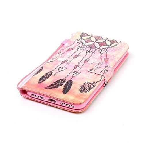 Ekakashop Custodia iphone 7 plus 5.5 inch, Cover iphone 7 plus 2016 model, Elegante borsa Custodia in Pelle Protettiva Flip Portafoglio libro Case Cover per Apple iphone 7 plus 5.5 inch / con Carte Sl Arancione Campanula