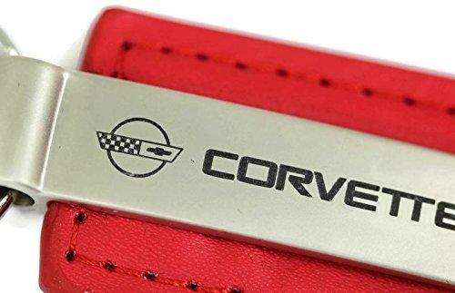 dantegts-chevrolet-chevy-corvette-c4-cuero-clave-cadena-rojo-rectangular-llavero