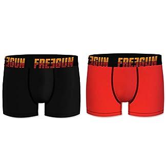 Freegun Sets de Boxers básicos de algodón, para Hombre, Colores Lisos, cinturas con elástico y Logo