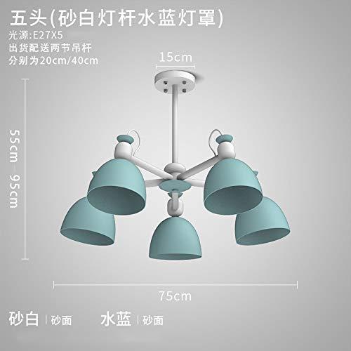 Semplice lampada europea in ferro a 5 teste - palo bianco sabbia + paralume blu acqua senza sorgente luminosa