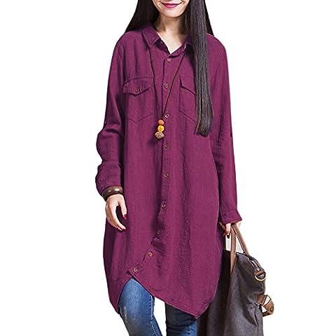 Romacci Women Cotton Linen Long Blouse Irregular Hem Buttons Loose Casual Vintage Top Shirt Dress White/Purple/Dark