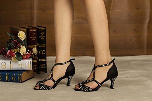 preta Noite Festa Latino Dança Sapatos Femininas Cha Minitoo Sandálias Cetim Casamento CvtRqHfx