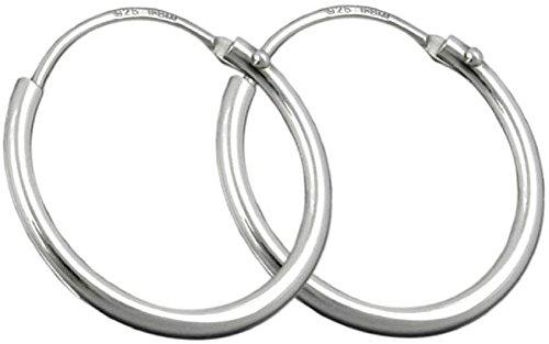 Unbespielt - Pendientes de aro pequeños de plata de ley 925 para hombre y mujer, con un tamaño de 15x1,2mm, brillantes y con cierre a presión, caja incluida