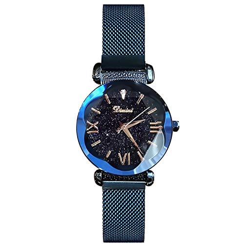 RORIOS Mode Damen Analog Quarzuhr Armbanduhren Mesh Armband Magnetband Sternenklarer Himmel Wasserdichte Armbanduhr