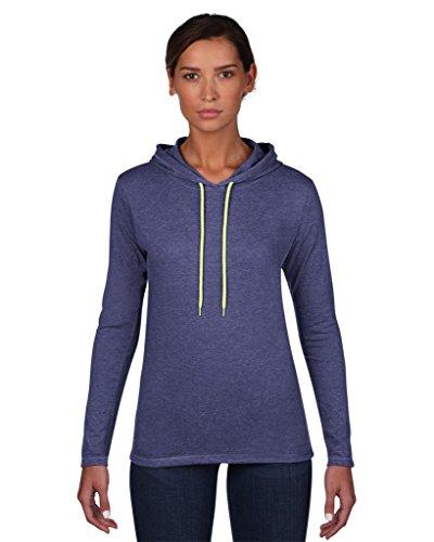 Anvil women ´ s fashion 887L basic t-shirt à manches longues à capuche Bleu - Heather Blue