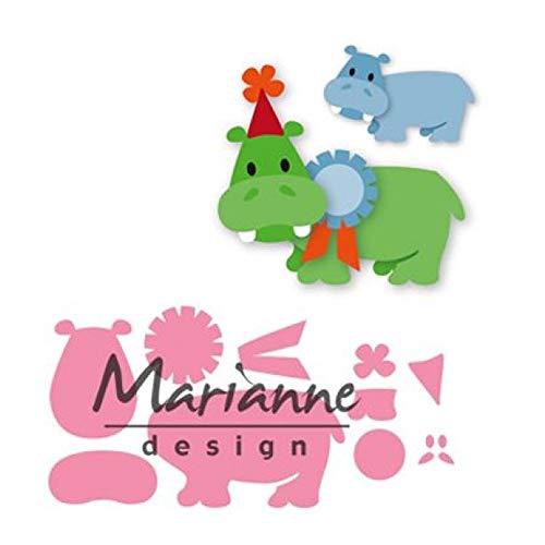 Marianne Design Collectables, Glückliches Nilpferd, für Detaillierte Stanzformen und Prägedetails im Papierhandwerk, Metall rosa 20,6 x 16