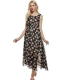 Acevog Vestido Largo Estampado Mujer de Playa sin Mangas de Gasa Floral de Verano