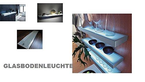 LEd Glasbodenleuchte Länge:900 mm- 21 Watt-Regal aus Sekuritglas mit eingebauter elektronischer Leuchtstofflampe mit Schalter,-Edelstahlbeleuchtete Konsole (Tablarleuchte) für Küche und Wohnbereich (Elektronische Regale)