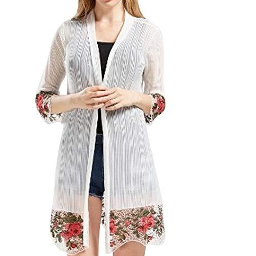 Preisvergleich Produktbild Nyuiuo Damen Sommer Strickjacke Tops Fashion Halbarm Bestickt Print Fashion Freizeithemd halben hülse Stickerei Blume Farbe Freizeit Bluse