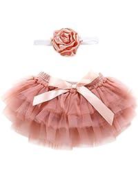 Topgrowth Gonna Bambina Neonata Balletto A Pizzo Danza Sottogonna Layered Gonne in Tulle + Fascia per Capelli Bimba 2Pcs Outfits