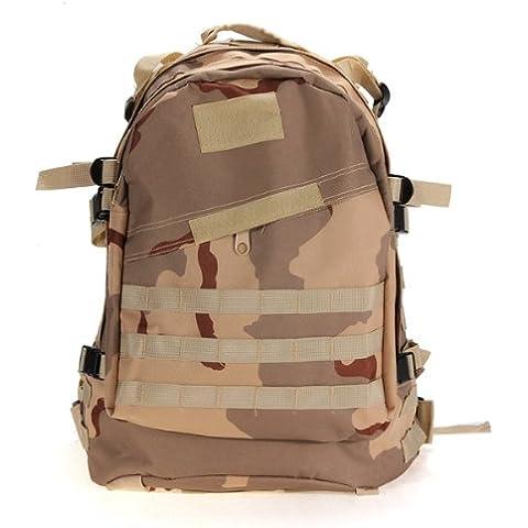 SODIAL(R) Militar tactico al aire libre 40L Mochila Mochila Senderismo camping Trekking Bolsa - Tres arena camuflaje