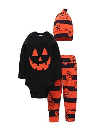 Overall,Unisex Neugeborenes Baby Jumpsuit Outfits Brief Halloween Strampler Tops Kürbis Drucken Spielanzug+ Orange Streifen Hosen+ Cap Kleidung Sets Moginp (80, Schwarz)