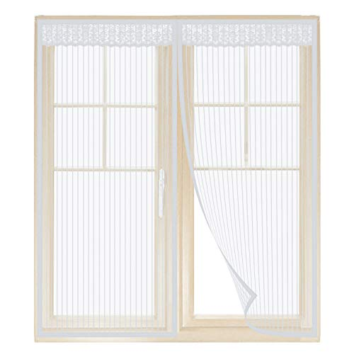 Anpro Magnet Fliegengitter Fenster, Insektenschutz Fenstervorhang 130 x 150 cm, Klebmontage ohne Bohren, Weiß