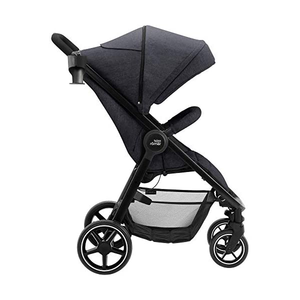 Britax Römer B-Agile M Stroller Pushchair, Birth to 4 Years (22kg), Black Shadow Britax Römer Compatible with all Britax Römer infant carriers with optional adapters as well as the Britax Römer carrycot Lie-flat backrest - suitable for a soft carrycot Large protective hood with viewing window and upf 50+ sun protection 4
